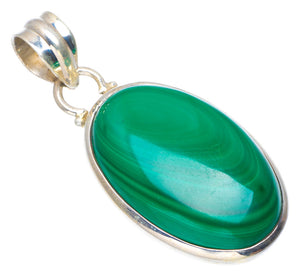 "Natural Malachite Handmade Unique 925 Sterling Silver Pendant 1.75"" AU0073"