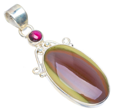 Natural Imperial Jasper and Amethyst Handmade Unique 925 Sterling Silver Pendant 2
