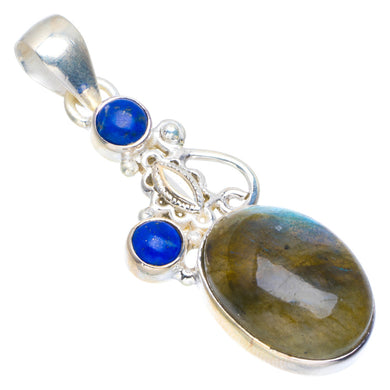 Natural Blue Fire Labradorite and Lapis Lazuli 925 Sterling Silver Pendant 1.75