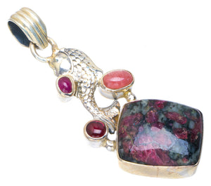 Natural Eudialite,Amethyst and Pink Jasper Handmade Unique 925 Sterling Silver Pendant 2 AU0110