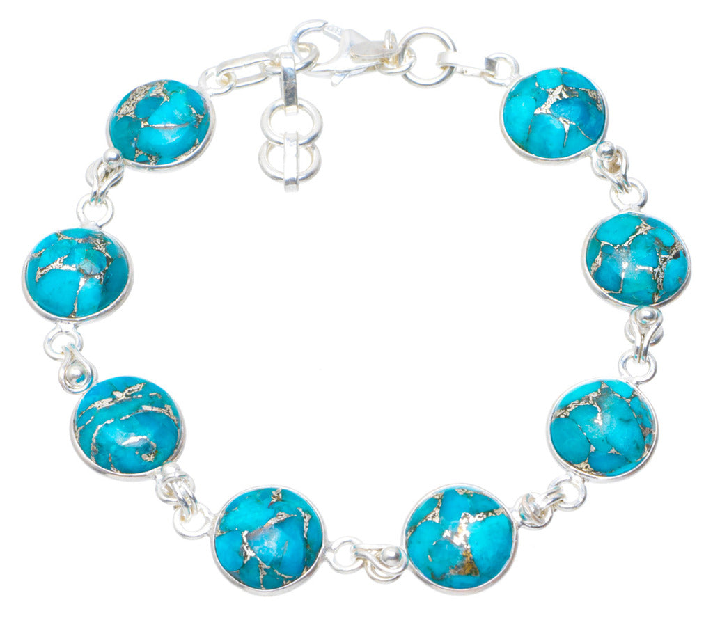 Natural Copper Turquoise Handmade Unique 925 Sterling Silver Bracelet 7.75 AU0161
