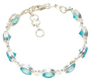 "Natural Chalcedony Handmade Unique 925 Sterling Silver Bracelet 7.5"" AU0165"