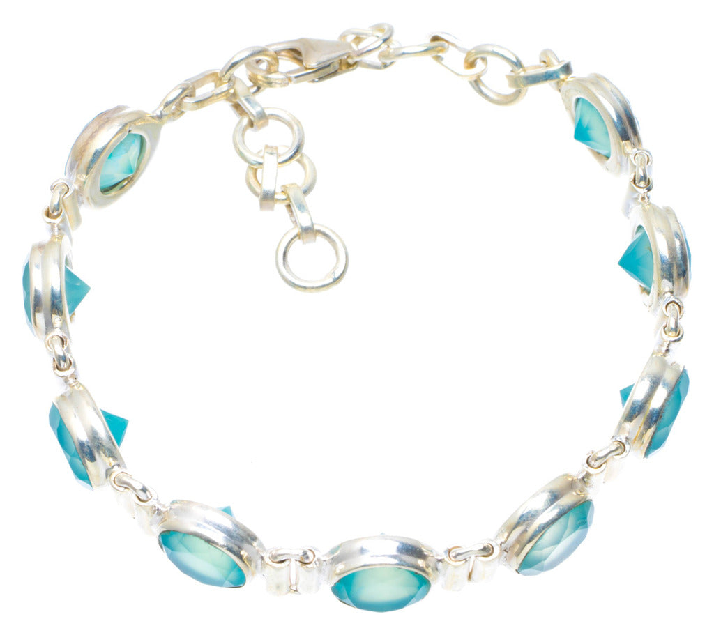 Natural Chalcedony Handmade Unique 925 Sterling Silver Bracelet 7.5