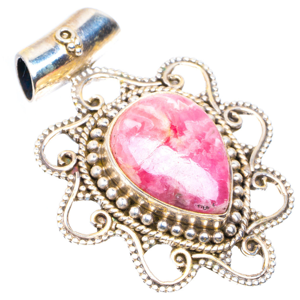 Natural Rhodochrosite Handmade Unique 925 Sterling Silver Pendant 1.5
