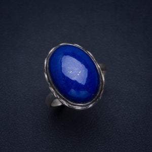 Natural Lapis Lazuli Handmade Unique 925 Sterling Silver Ring 8 AU0005