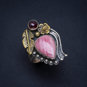Natural Two Tones Rhodochrosite and Amethyst Handmade Unique 925 Sterling Silver Ring 5.5 AU0028
