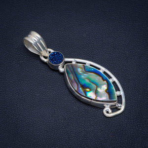 "Natural Abalone Shell and Titanium Handmade Unique 925 Sterling Silver Pendant 1.75"" AU0082"