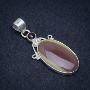 "Natural Imperial Jasper and Amethyst Handmade Unique 925 Sterling Silver Pendant 2"" AU0092"