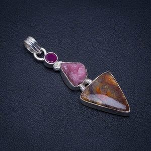 "Natural Crazy Lace Agate,Pink Tourmaline Rough and Amethyst 925 Sterling Silver Pendant 2"" AU0108"