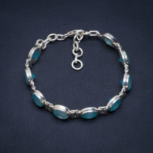 Natural Chalcedony Handmade Unique 925 Sterling Silver Bracelet 7.5 AU0165