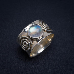 Natural Rainbow Moonstone Handmade Unique 925 Sterling Silver Ring 7.25 AU0184