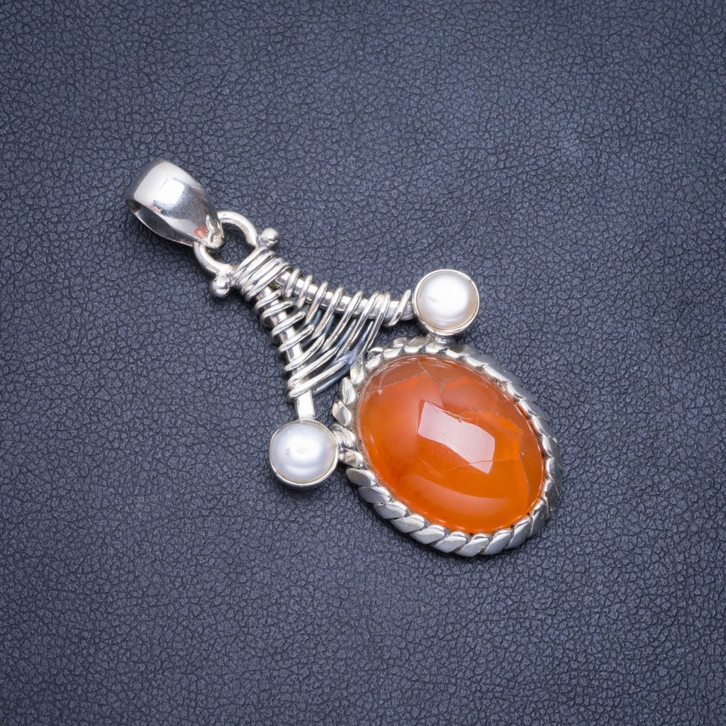 Natural Charoite and River Pearl Handmade Unique 925 Sterling Silver Pendant 1 3//4 T1108