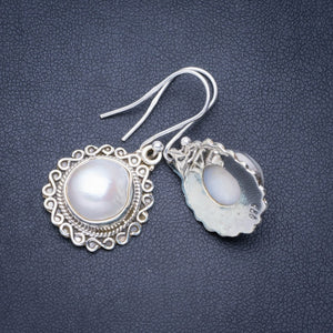 "Natural River Pearl Handmade Unique 925 Sterling Silver Earrings 1.5"" A0765"