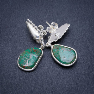 "Natural Chrysocolla Handmade Unique 925 Sterling Silver Earrings 1.5"" A1458"
