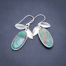 "Natural Chrysocolla Handmade Unique 925 Sterling Silver Earrings 1.75"" A2103"