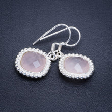 "Natural Rose Quartz Handmade Unique 925 Sterling Silver Earrings 1.25"" A2294"