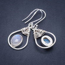 "Natural Rainbow Moonstone Handmade Unique 925 Sterling Silver Earrings 1.5"" A2302"