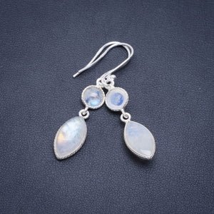 "Natural Rainbow Moonstone Handmade Unique 925 Sterling Silver Earrings 1.75"" A2334"
