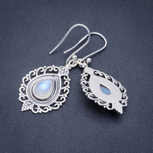 "Natural Rainbow Moonstone Handmade Unique 925 Sterling Silver Earrings 1.75"" A2369"