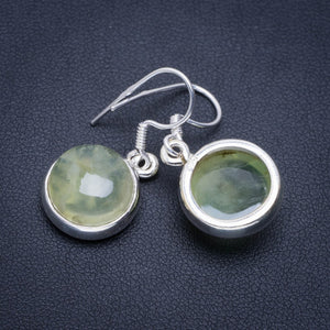 "Natural Prehnite Handmade Unique 925 Sterling Silver Earrings 1.25"" A2389"