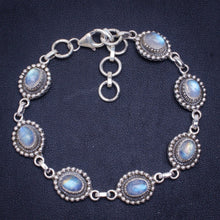 "Natural Rainbow Moonstone Handmade Unique 925 Sterling Silver Bracelet 6.75-8"" A2985"