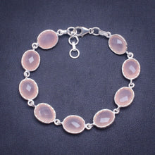 "Natural Rose Quartz Handmade Unique 925 Sterling Silver Bracelet 7.25-8"" A3020"