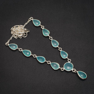 "Natural Chalcedony Handmade Unique 925 Sterling Silver Necklace 17+1.25"" A3171"