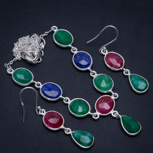 "Natural Emerald,Cherry Ruby and Sapphire 925 Silver Jewelry Set Necklace 18.25"" Earrings 2"" A3279"