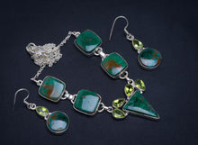"Natural Chrysocolla and Peridot 925 Sterling Silver Jewelry Set Necklace 19.5"" Earrings 1.5"" A3346"