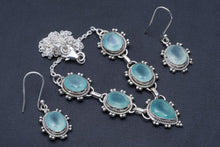 "Natural Chalcedony Handmade Unique 925 Sterling Silver Jewelry Set Necklace 18"" Earrings 1.5"" A3529"