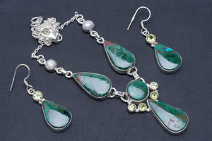 "Natural Chrysocolla,River Pearl and Peridot 925 Silver Jewelry Set Necklace 19.5"" Earrings 1.75"" A3563"