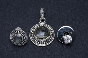 "Natural Green Amethyst Handmade Unique 925 Sterling Silver Jewelry Set Pendant 1.25"" Stud 0.5"" A3692"