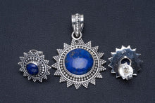 "Natural Lapis Lazuli Handmade Unique 925 Sterling Silver Jewelry Set Pendant 1.5"" Studs 0.5"" A3757"