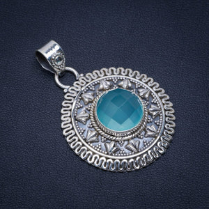"Natural Chalcedony Handmade Unique 925 Sterling Silver Pendant 1.75"" A3811"