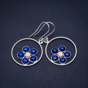 "Natural Lapis Lazuli Handmade Unique 928 Sterling Silver earrings 1.75"" A3847"