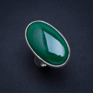 Natural Malachite Handmade Unique 925 Sterling Silver Ring 5.5 A4089