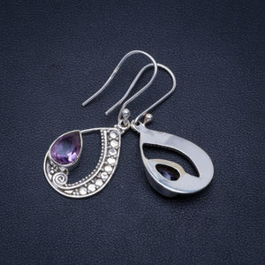 "Natural Amethyst Handmade Unique 925 Sterling Silver Earrings 1.5"" A4238"