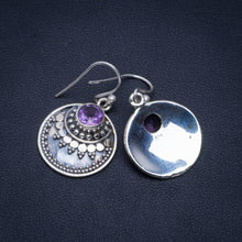 "Natural Amethyst Handmade Unique 925 Sterling Silver Earrings 1.25"" A4240"