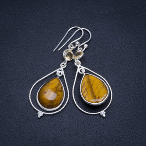 "Natural Tiger Eye and Citrine Handmade Unique 925 Sterling Silver Earrings 2"" A4272"