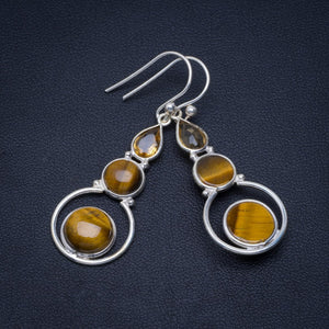 Natural Tiger Eye and Citrine Handmade Unique 925 Sterling Silver Earrings 1.75 A4467