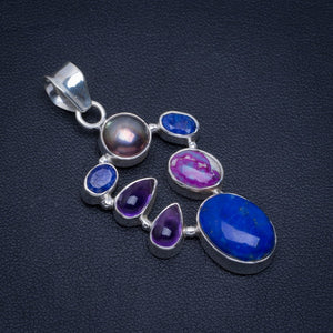 "Natural Lapis Lazuli,Sapphire,Iron,Copper Turquoise and Amethyst 925 Sterling Silver Pendant 2"" A4696"