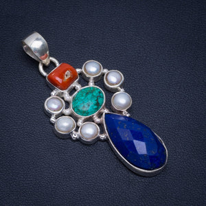 "Natural Lapis Lazuli,Red Coral,Turquoise and River Pearl Unique 925 Sterling Silver Pendant 2"" A4718"