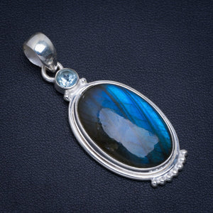 "Natural Blue Fire Labradorite and Blue Topaz Handmade Unique 925 Sterling Silver Pendant 2"" A4788"