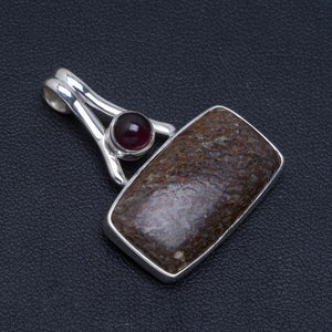 "Natural Picasso Jasper and Amethyst Handmade Unique 925 Sterling Silver Pendant 1.25"" A4801"