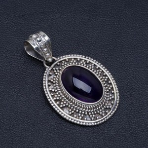 "Natural Amethyst Handmade Unique 925 Sterling Silver Pendant 1.25"" A4809"