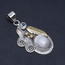 "Natural Two Tones River Pearl and Blue Topaz  Handmade Unique 925 Sterling Silver Pendant 2"" A4817"