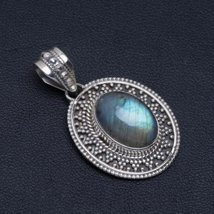 "Natural Blue Fire Labradorite Handmade Unique 925 Sterling Silver Pendant 1.5"" A4820"