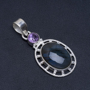 "Natural Blue Fire Labradorite and Amethyst Handmade Unique 925 Sterling Silver Pendant 1.75"" A4821"
