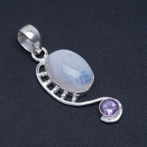 "Natural Rainbow Moonstone and Amethyst Handmade Unique 925 Sterling Silver Pendant 2"" A4825"