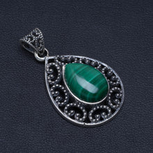 "Natural Malachite Handmade Unique 925 Sterling Silver Pendant 1.5"" A4853"